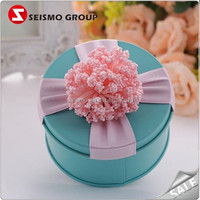 Customized small round heart shaped cookie candy tin box for gift