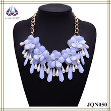Purple flower pearl and bead pendant plastic fashion jewelry necklace for women