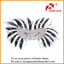 Hot Silver Feather Face Mask for Party