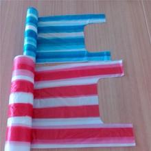 PE hdpe/ldpe cheap eco-friendly stripe white-blue plastic cuted shopping t-shirt handle bag