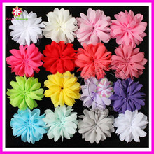 "3"" New baby ruffle chiffon flower accessories baby infant hair flowers for girl headbands"