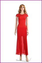 see through cap sleeve rayon chiffon tail long red evening dress