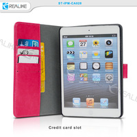 rose red leather wallet case megnetic closure detachable case for ipad mini 3