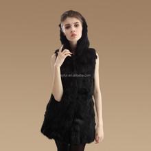hot sales fashion girls long rabbit fur vest hooded rabbit fur gilet vest for women