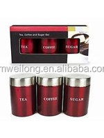 Set of 3 Gfit box package Metal Jar Pot Canister Set Container/Storage Kitchen Red Black_Stainless Steel Lid