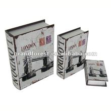 Nesting Printed Canvas Wooden Book Box