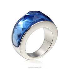Manufacturer Stainless Steel Charm Blue Lucky Stone Ring