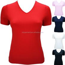 2015 fashion OEM women blank V-Neck t shirt design your logo and Custom print womens sports clothing