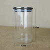 2014 Cheap clear airtight glass juice jar with plastic lids for food pasta can keep long lasting original taste