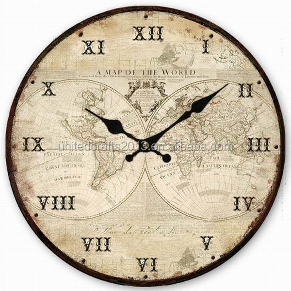 World map painted wall clocksantique wall clock wooden wall clock z1024 34cmg gumiabroncs Images