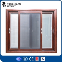 ROGENILAN 150 series hot sale and innovative security double glazed aluminium sliding window with blinds