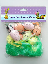 10 pcs easter hanging foam egg with grass , easter foam egg hanging