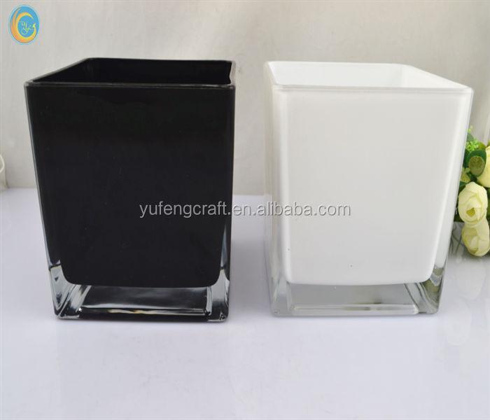 8cm Or 12 Cm Or 15 Cm Black White Or Any Color Square Glass Vases