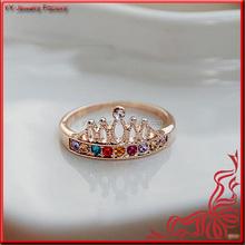 Femal Colorful Crystal Bijou Gold Crown Ring