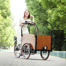 CE factory price bakfiets family front loading cargo trike electric bicycle manufacturer