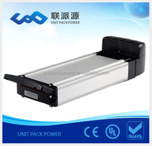 Top quality big rack battery 48V 15Ah samsung lithium ion battery for electric bike with 2A charger