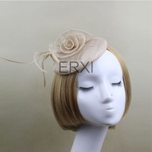 2015 New Design Chuch/Party/Sinamay Base Fascinator Hat Wiht Feather