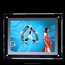 LED light box with crystal frame 500x500, lucite LED light box frame