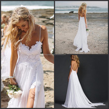 spaghetti strap wedding gown flowing chiffon beach wedding dress CYW-023