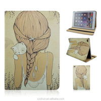 The Back of Girl with Sleep Cat Design PU Leather Flip Stand Tablet Covers Case For iPad Air 2 From Factory