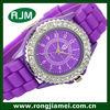 Jewelry silicone printed Geneva watch with crystal quartz watch for lady