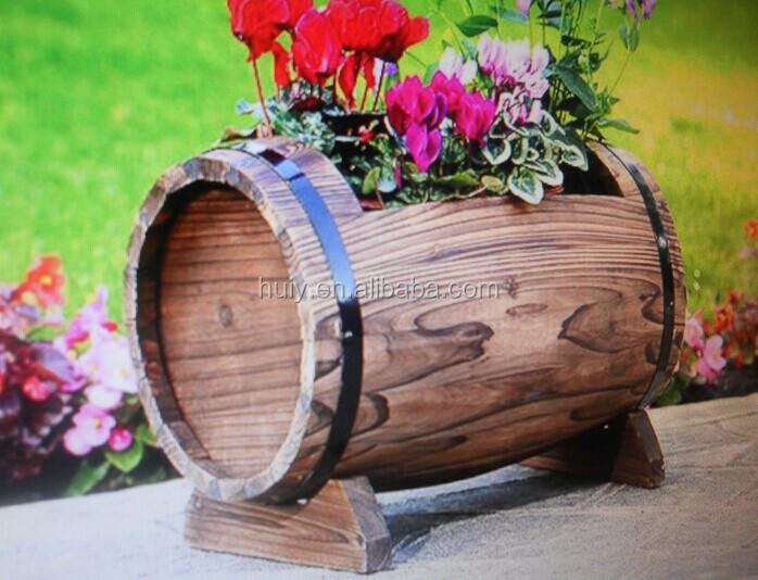 Jardin planteur en forme de tonneau en bois rustique fleur for Solde plante exterieur