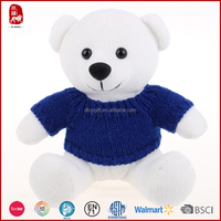 Blue knitted teddy bear sweaters white bear China new design