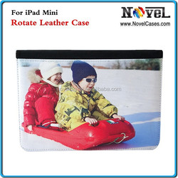 Sublimation Rotate Leather Wallet for iPad Mini , 2015 New DIY Printing Rotate Leather Cell Phone Case Cover for iPad Mini