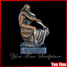 Signed Art Decorated Modern Bronze Nude Female Lady Sculpture