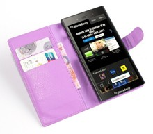 Leather wallet style cellphone case for Blackberry Z3