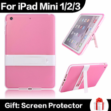 Hot Ultrathin Tablet PC Case For iPad Mini 1 2 3 Kickstand Holder Back With Hard Bracket Multi Colors Soft TPU Cases In Stock