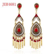 Fashion simple alloy drop shaped beaded tassel earring