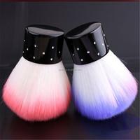 1pcs Nail Art Dust Remover Brush Cleaner Acrylic UV Gel Rhinestones Makeup Brush Tool Soft Colorful