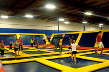 trampoline park with foam pit/pyramid/basketball hoop
