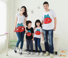 family matching clothing, family round collar printed t shirt designs latest family of four summer wear