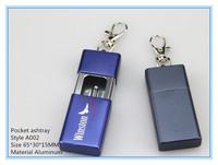 Metal portable pocket ashtray with key chain