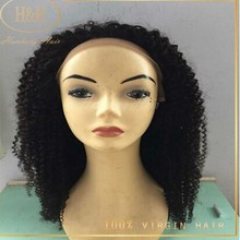 100% brazilian human hair wig ,kinky curly human hair full lace wig for black women