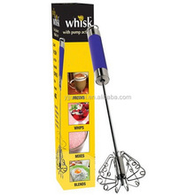 Stainless steel rotating whizzy whisk with silicone header
