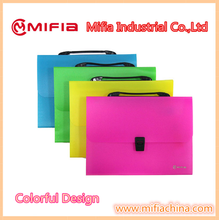 Colorful PP document carrying file folder with Fluorescence color Expanding File Case with Button Closure