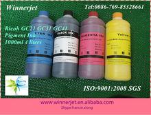 4*1000ml Bulk Pigment Gel Ink for Ricoh Refillable Cartridges GC-21 GC-31 GC-41