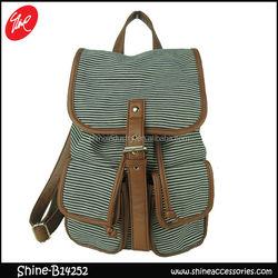 Stripe backpack/canvas school bag/backpack wholesale