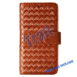 Handmade Weave Pattern Wallet Magnetic Flip Stand PC , PU Leather Case for Samsung Galaxy S6 G9200