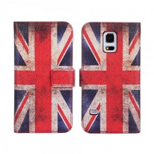 High quality Flag Kickstand card holders PU Leather Stitch case for Galaxy S5 G900 with CE certificate