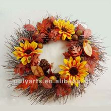 decorative autumn wreath with chrysanthemum and autumn leaves