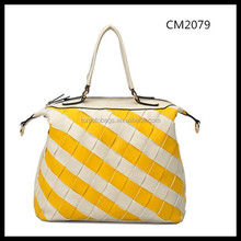Single handle ladies pu weave tote bag in cream and yellow