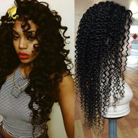 Promotion Afro Curly Style For Black Women 100% Human Hair full lace Wigs with natural hairline and baby hair around