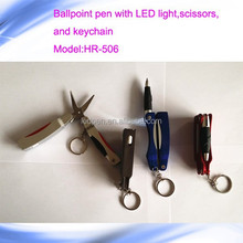 multi-function ballpoint pen/ballpoint pen with led light ,scissors and keychain