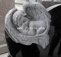 Black Granite Small Angel Monuments Baby Tombstones