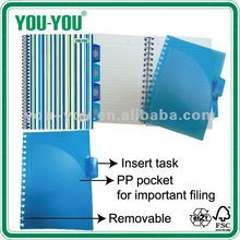 OEM paper stationery of printed PP cover subject double spiral wire & o 4 in 1 notebook A4-A6