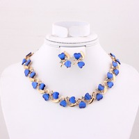 Fashion Gold Plated Heart Shape Dark Blue Resin Costume Jewelry Set for Women